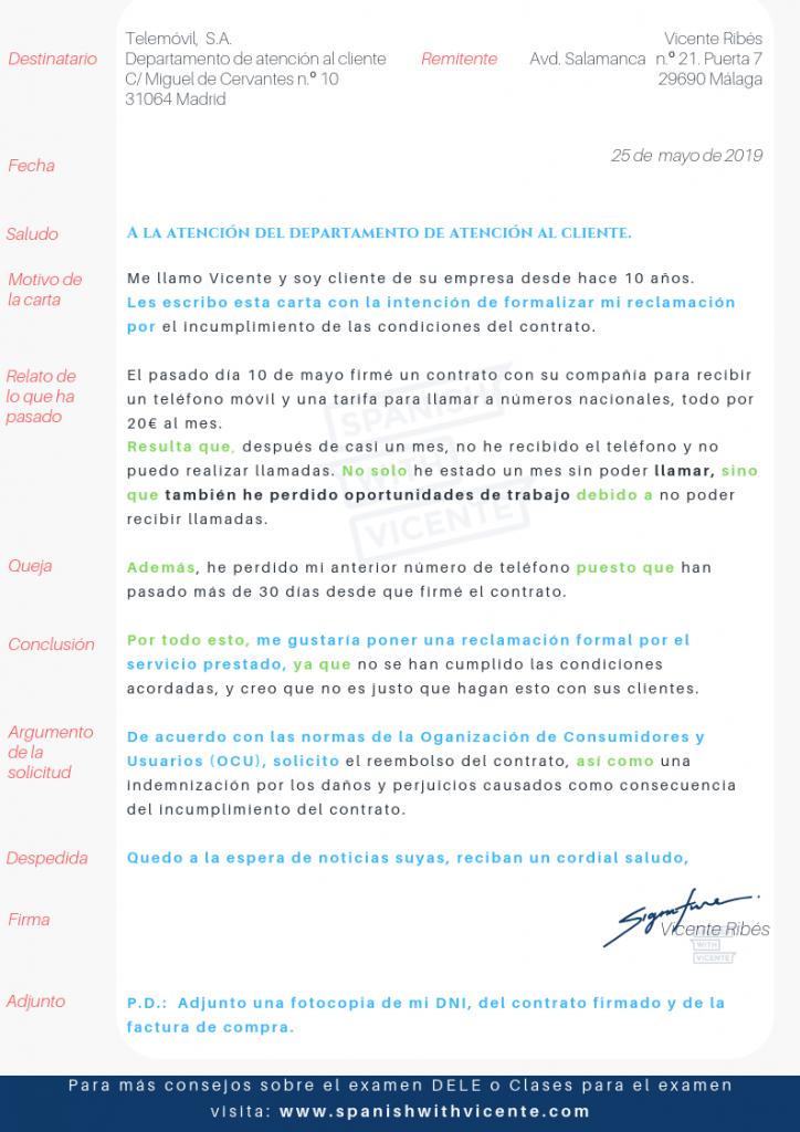 Ejemplo Carta de Reclamación Tarea 2 DELE C1