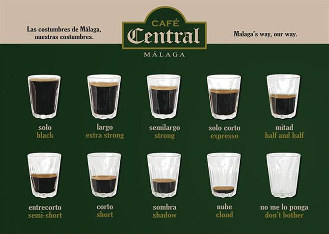 diferentes tipos de café en Málaga