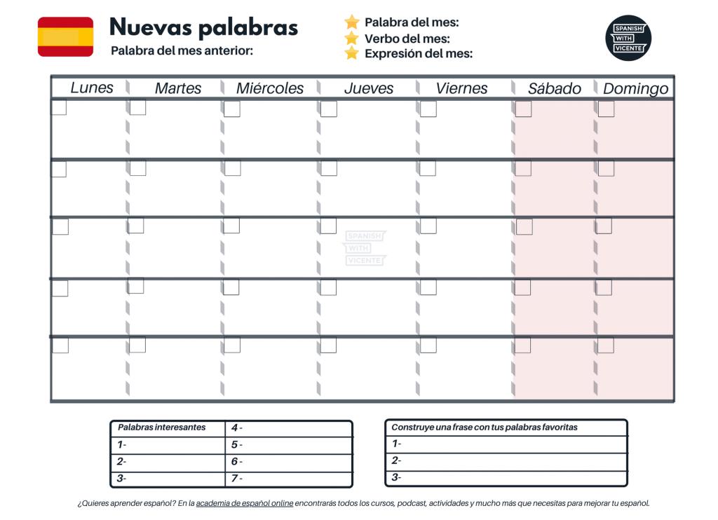 Calendario para aprender vocabulario en español