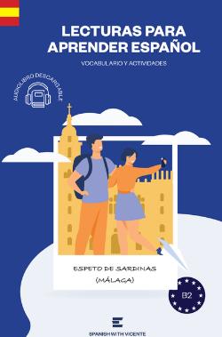 Portada libro Espeto de sardinas basado en la ciudad de Málaga de Spanish with Vicente Nivel B2
